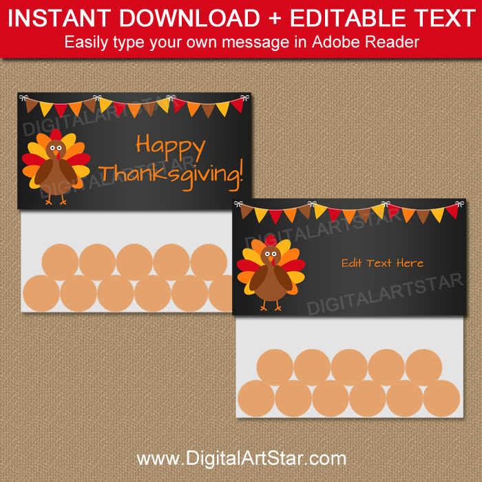 Chalkboard Thanksgiving Favors - Editable Bag Toppers