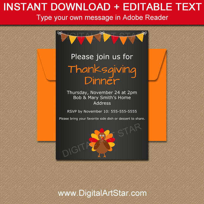 picture about Printable Thanksgiving Invitations identify Chalkboard Thanksgiving Invites - Printable PDF