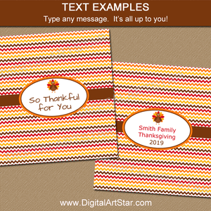 Chevron Thanksgiving Candy Wrappers to Make Party Favors