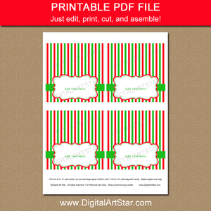 Christmas Bag Topper Template - Red and Green Stripes