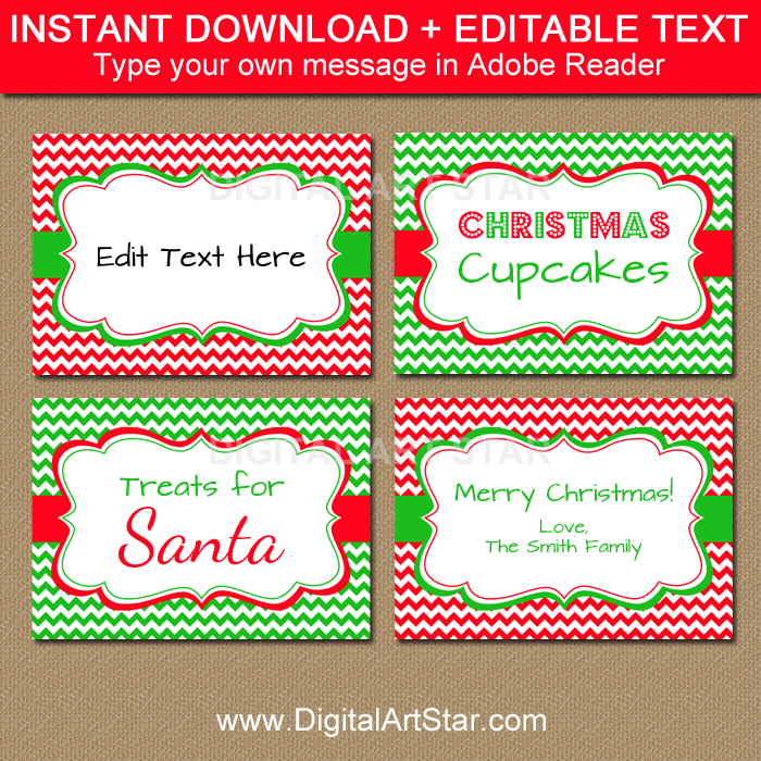 printable Christmas buffet cards