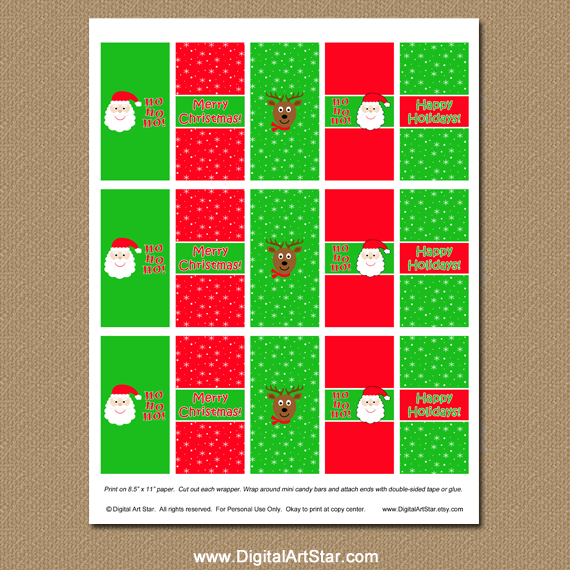 Printable Christmas Chocolate Bar Wrappers with Santa