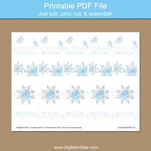 Printable Holiday Snowflake Tag Template