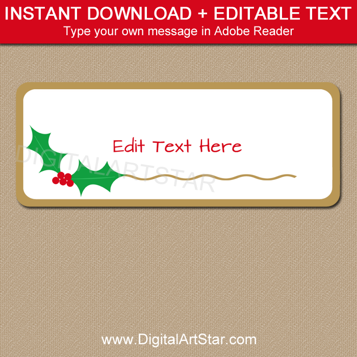 Christmas Holly Address Label Template