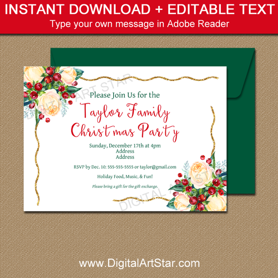 Floral Christmas Invitation Printable for Family Christmas Party