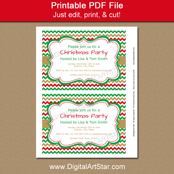 Editable Invitation for Your Christmas Party