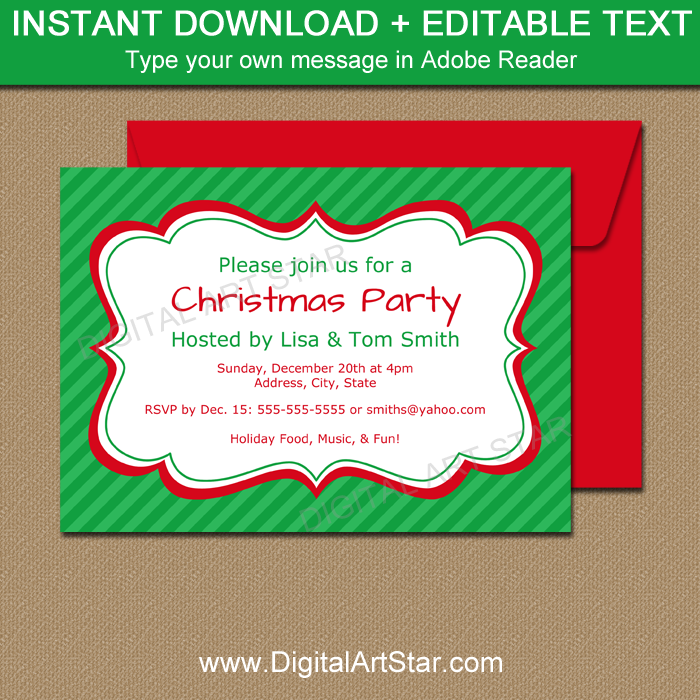 Green Printable Christmas Invitations with Editable Text