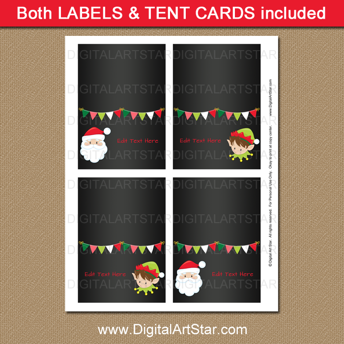Santa and Elf Food Tent Cards