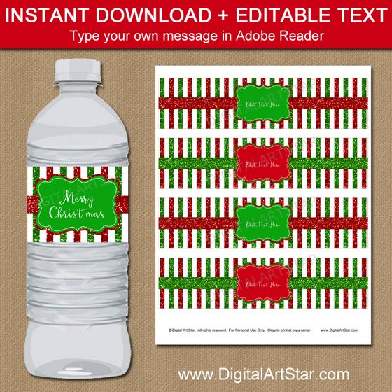 Well-known Christmas Water Bottle Labels - Holiday Party Ideas - Digital Art Star ZJ59