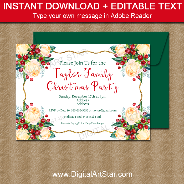 Christmas Party Invitation Template, Wedding Invite | Digital Art Star