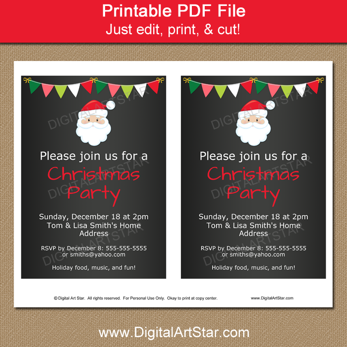 Christmas Party Invitation Template with Santa