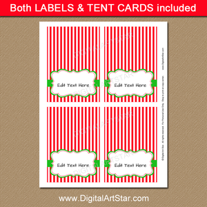 red and white Christmas food tents