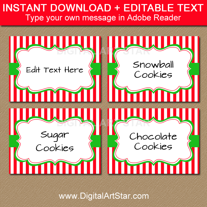 instant download Christmas party labels