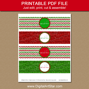 Christmas Water Bottle Label Download