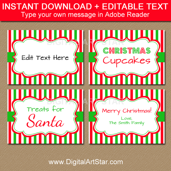 Christmas place cards editable template