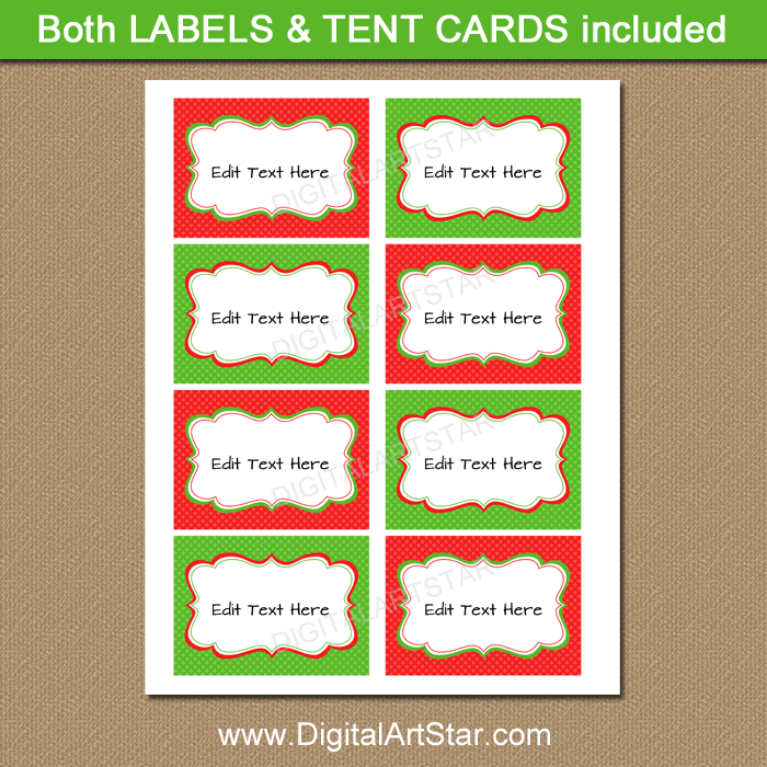 Printable Christmas Place Cards - Red and Green | Digital Art Star