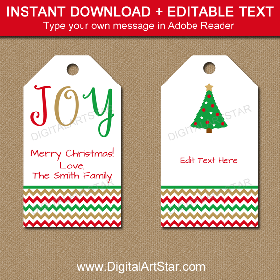 Christmas tags with JOY and Christmas tree