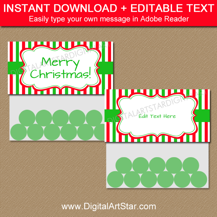 photograph about Christmas Bag Toppers Free Printable known as Xmas Bag Topper Template - Crimson and Inexperienced Stripes
