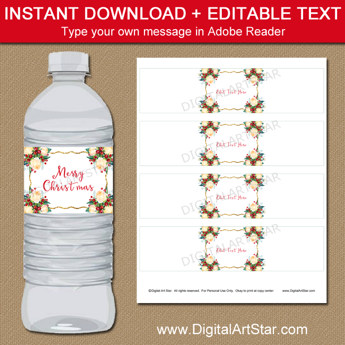 Christmas Water Bottle Labels - Watercolor Floral