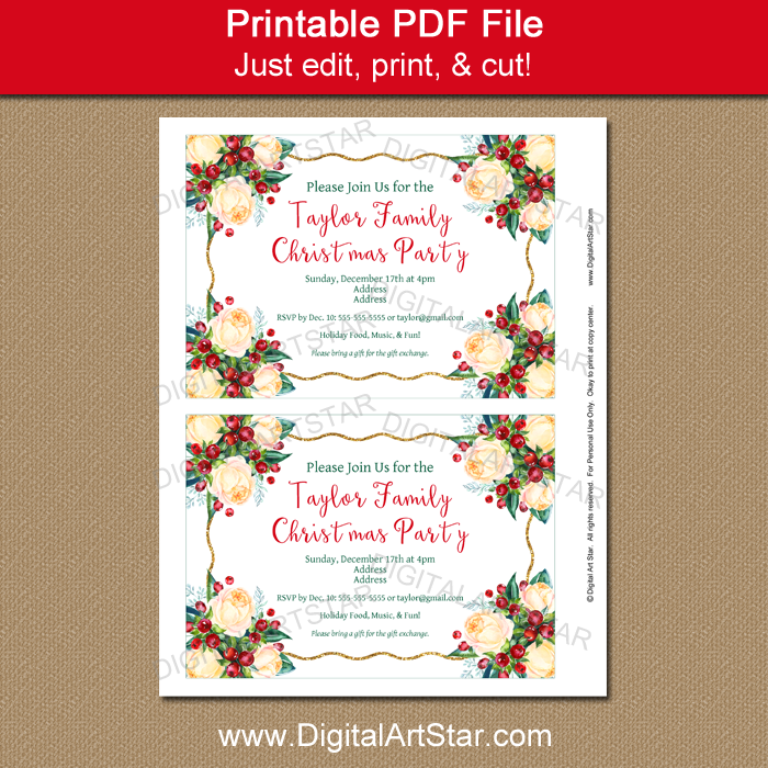 Christmas Wedding Invitations.Christmas Party Invitation Template Christmas Wedding Invite