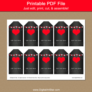 Printable Hang Tags for Classroom Valentine Party