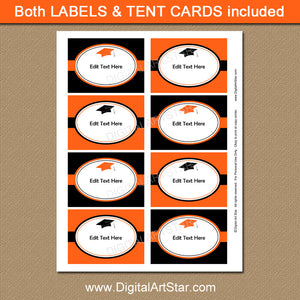 High School Graduation Labels in Orange and Black