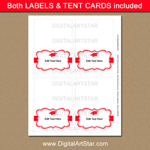 College Graduation Labels in Red and White