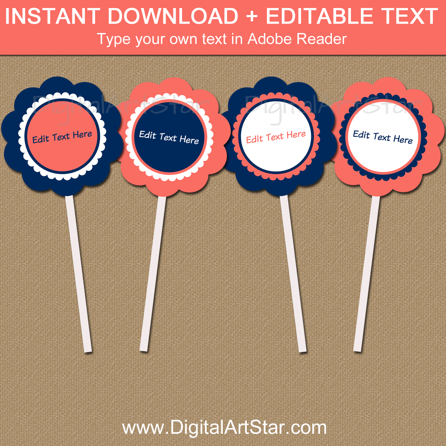 Coral and Navy Blue Cupcake Toppers Template