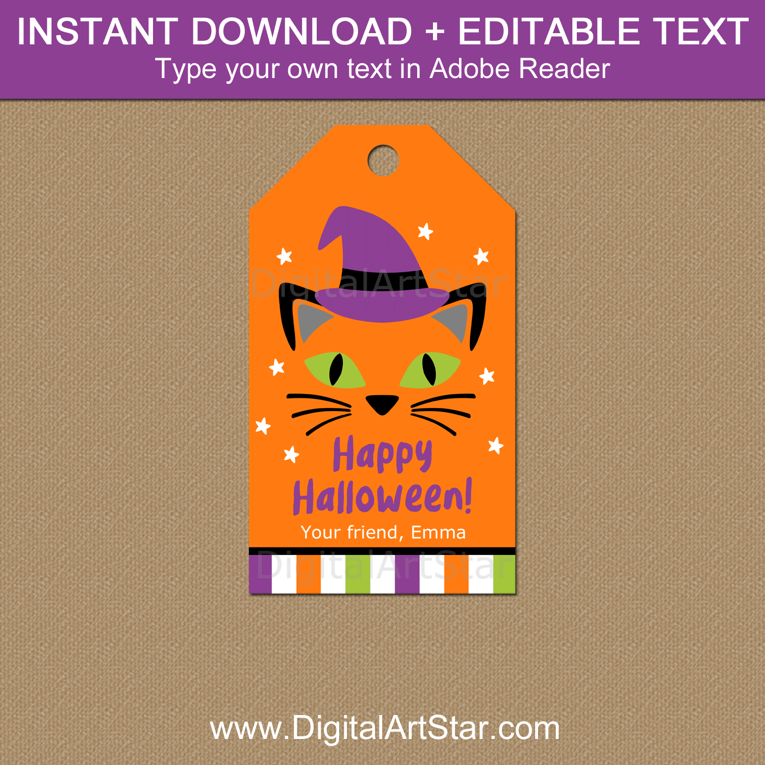 Cute Halloween Gift Tags Template - Cat Witch Face
