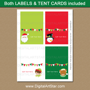 Cute Christmas Buffet Cards for Kids