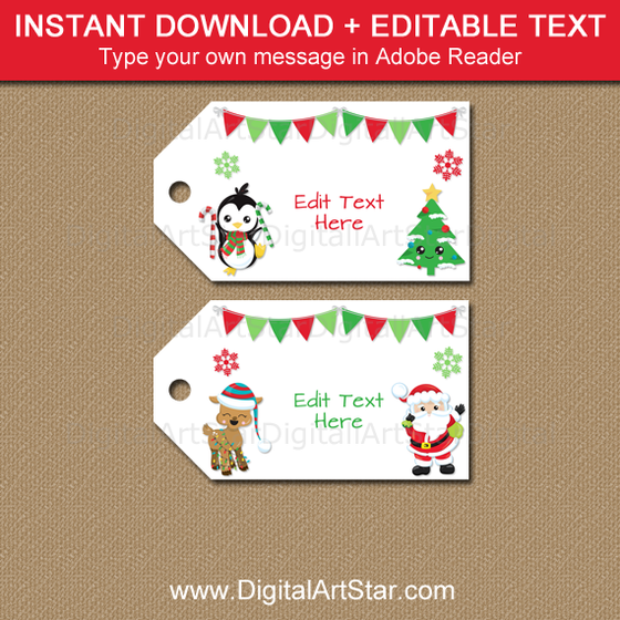 Cute Christmas Gift Tags to Print