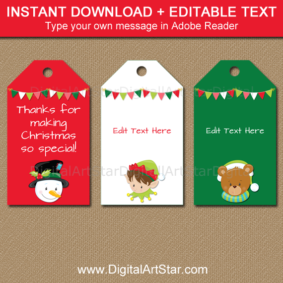 cute Christmas tags for kids by Digital Art Star