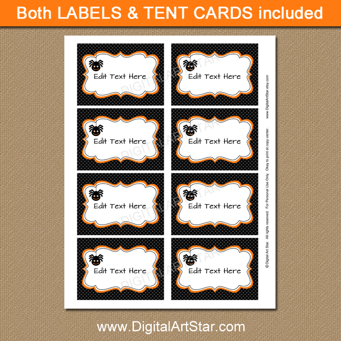 black Halloween candy buffet labels with editable text