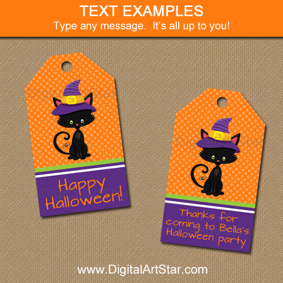 Happy Halloween Gift Tags Template in Orange and Purple