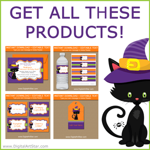 Cute Halloween Party Package Printables with Black Cat