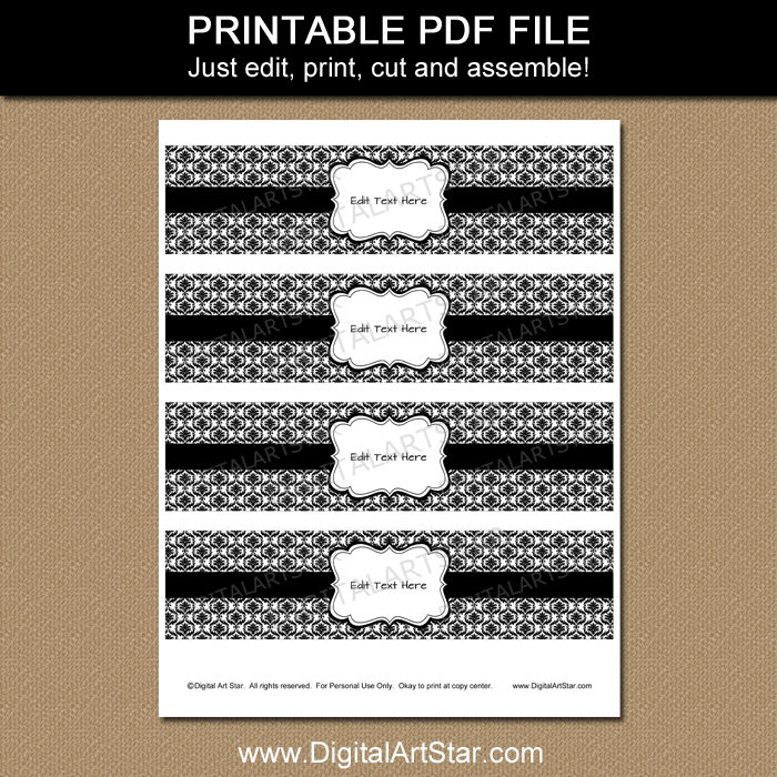 buffet labels party labels Printable Labels: Black and White Damask digital labels storage labels printable frames table numbers cards