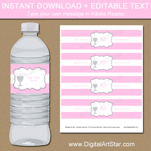 Editable Water Bottle Labels for Girl First Communion Party