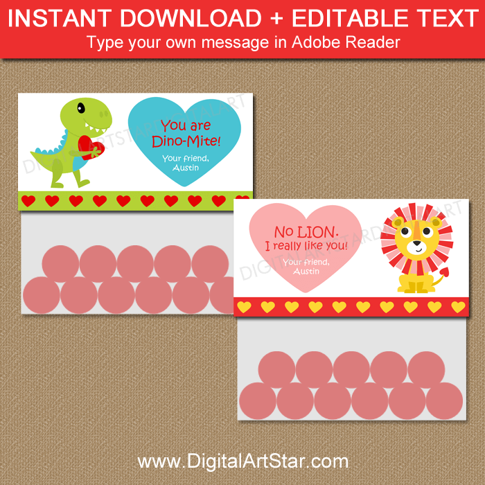 Boy Valentine Bag Toppers Printable with Dino and Lion