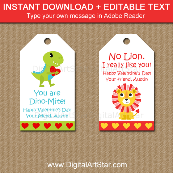 Editable Valentine Tags Instant Download