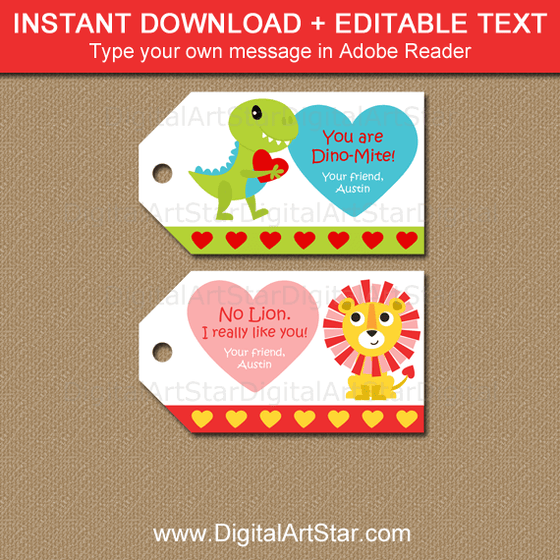 Dinosaur and Lion Valentine Tags for Classmates