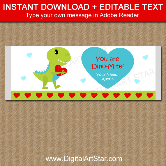 Dinosaur Valentine Candy Bar Wrapper Printable
