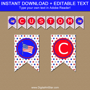 Downloadable 4th of July Banner Template with American Flag