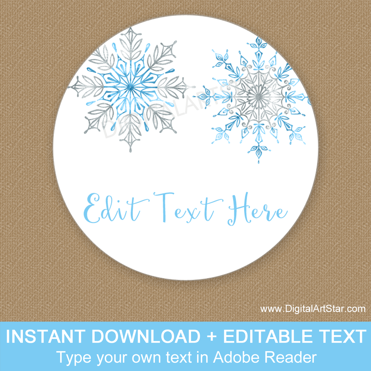Downloadable Blue and Silver Snowflake Party Printable Favor Stickers