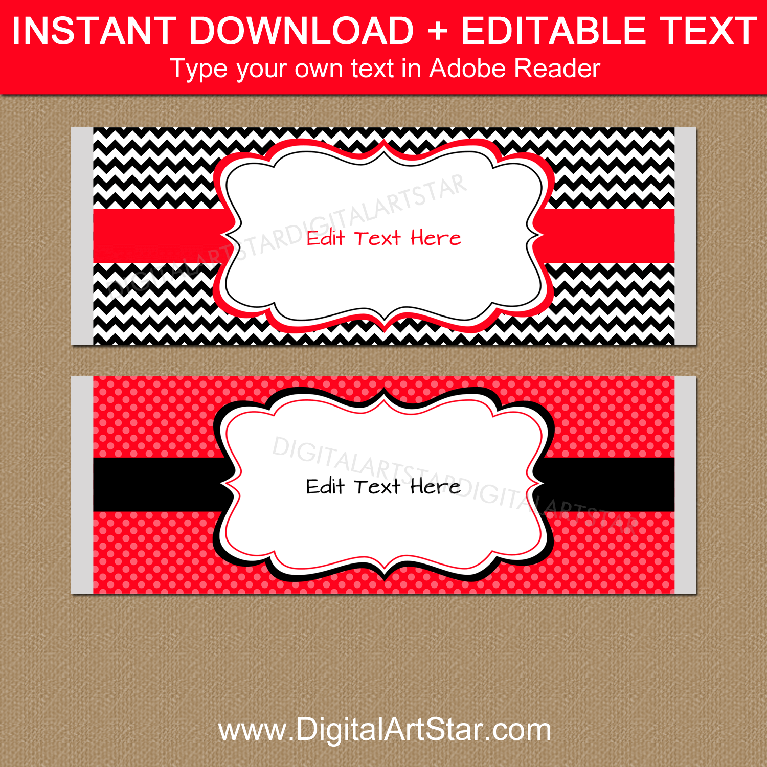 Downloadable Candy Bar Wrappers Template Red Black White