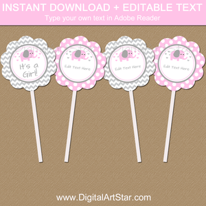 Downloadable Pink and Gray Elephant Baby Shower Cupcake Toppers