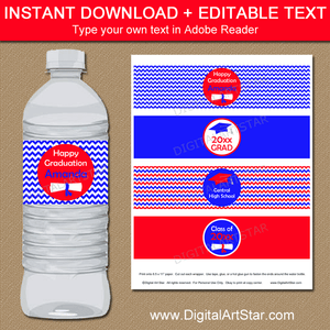 Downloadable Red and Royal Blue Graduation Water Bottle Label Template