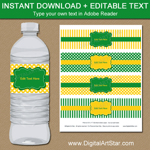 Downloadable Water Bottle Label Template Kelly Green Yellow