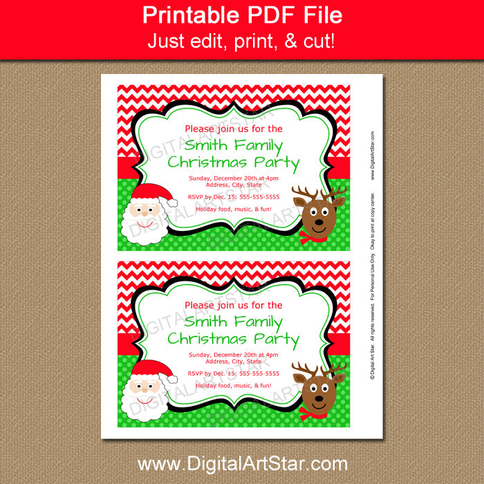 Christmas Invitations with Santa and Reindeer