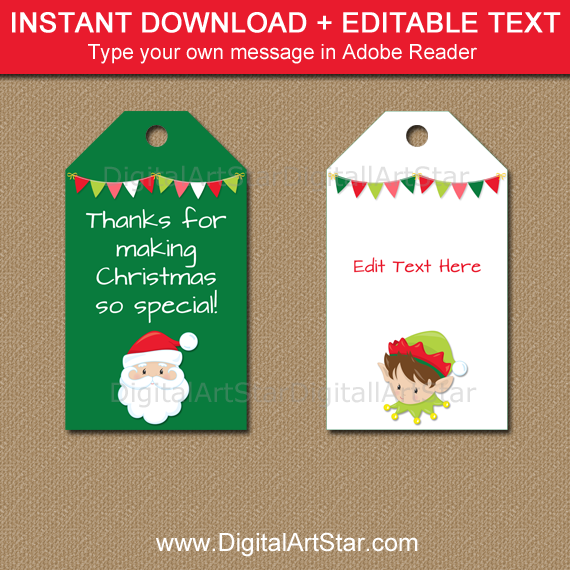 editable Santa and Elf Christmas gift tags