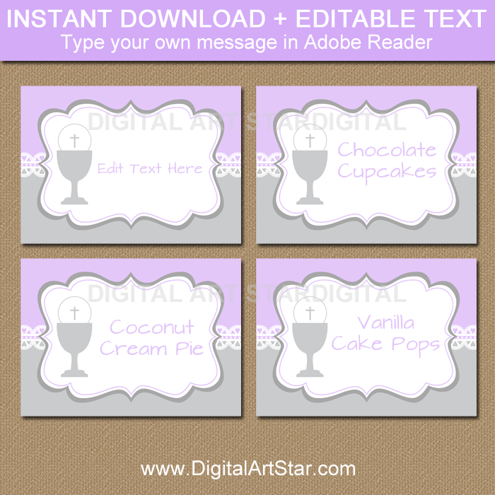 Lace First Communion Label Template in Lavender and Silver